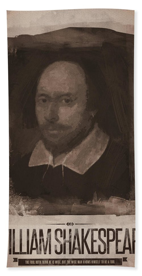 William Shakespeare Beach Towel featuring the digital art William Shakespeare by Afterdarkness