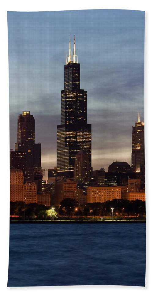 3scape Photos Beach Towel featuring the photograph Willis Tower At Dusk Aka Sears Tower by Adam Romanowicz