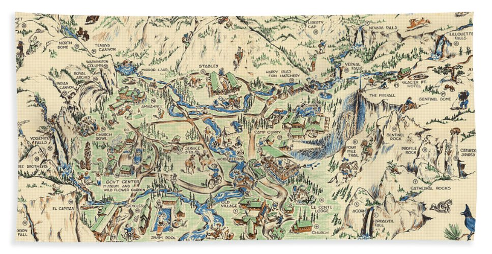 Willy Nilly Map - The Valley -yosemite National Park - Vintage Illustrated on map of map, map of grand canyon, map of myrtle beach,