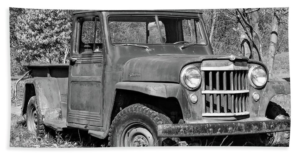 Vehicle Beach Towel featuring the photograph Willys Jeep Pickup Truck Monochrome by Steve Harrington