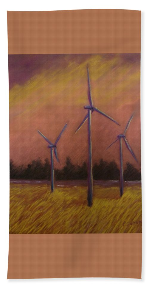 Wind Turbine Beach Towel featuring the pastel Wind And Wheat by Pat Snook
