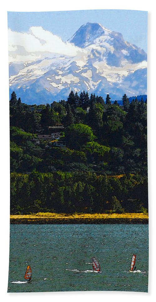 Art Beach Towel featuring the painting Wind Surfing Mt. Hood by David Lee Thompson