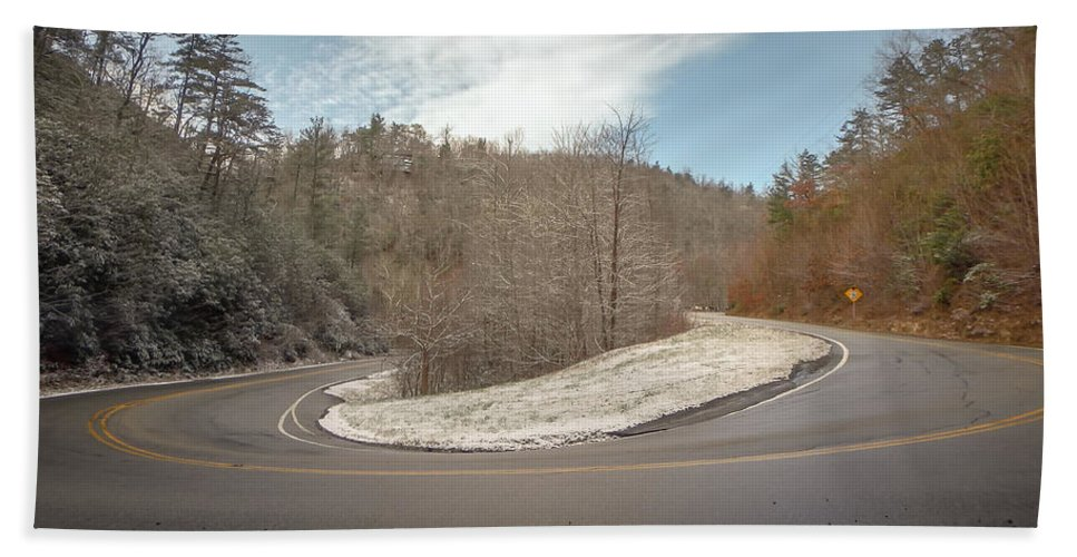 Road Beach Towel featuring the photograph Winding Country Road In Winter by Alex Grichenko