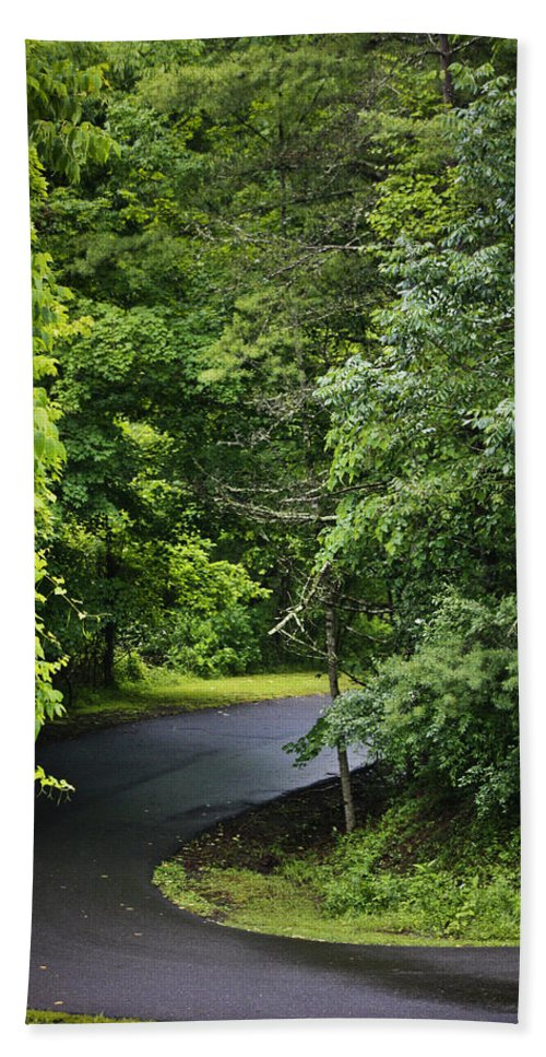 Rain Beach Towel featuring the photograph Winding Road Bluestone State Park West Virginia by Teresa Mucha