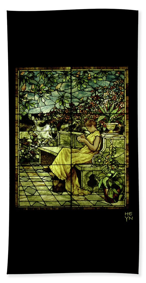 Stain Beach Towel featuring the photograph Window - Lady In Garden by Shirley Heyn