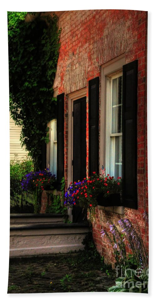 Window Boxes Beach Towel featuring the photograph Window Boxes by Lois Bryan