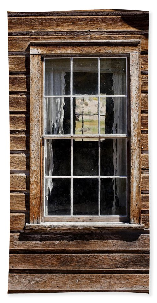 Wood Texture Beach Towel featuring the photograph Window In A Window by Kelley King