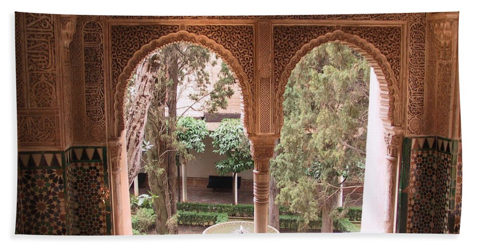 Window Beach Towel featuring the photograph Window In La Alhambra by Thomas Marchessault