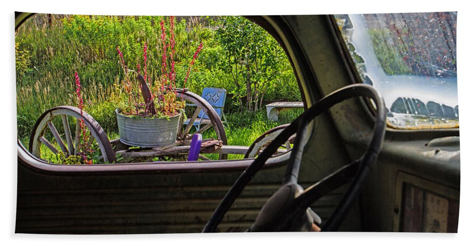 Truck Beach Towel featuring the photograph Window in Time by Alana Thrower