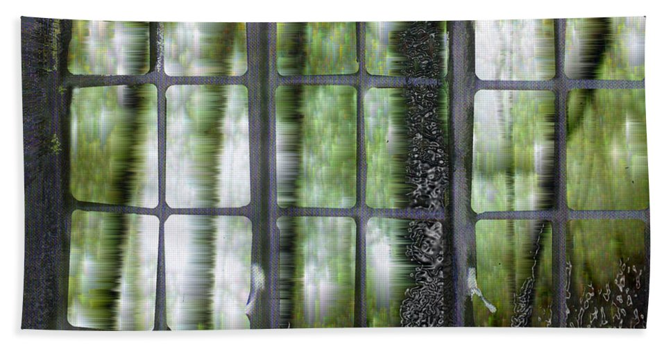 Window On The Woods Beach Towel featuring the digital art Window On The Woods by Seth Weaver