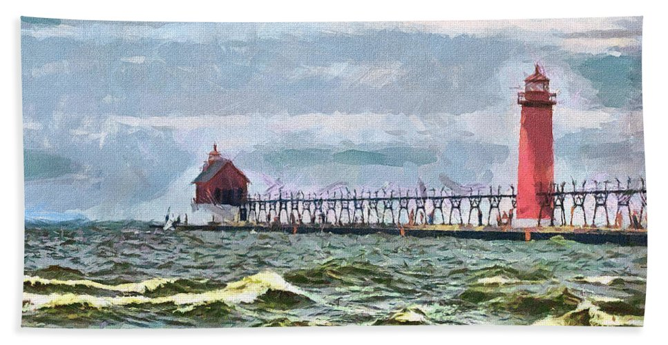 Lighthouse Beach Towel featuring the photograph Windy Day At Grand Haven Lighthouse by Betsy Foster Breen