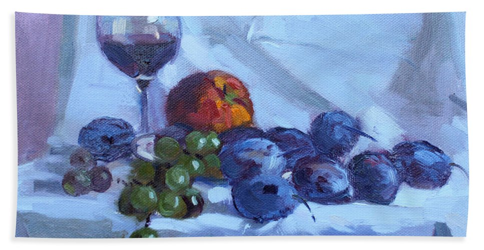 Wine Beach Towel featuring the painting Wine And Fresh Fruits by Ylli Haruni