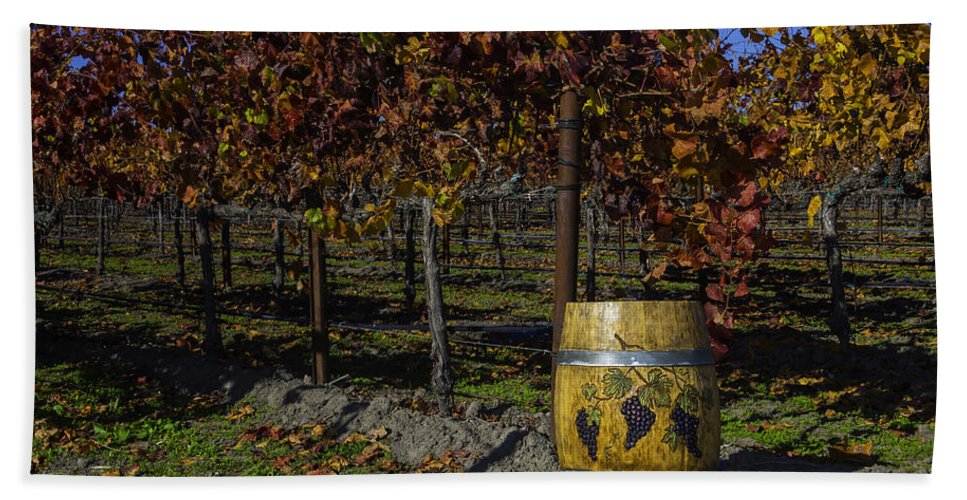 French Beach Towel featuring the photograph Wine Barrel In Vienyard by Garry Gay