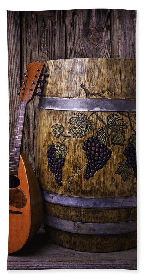 French Beach Towel featuring the photograph Wine Barrel With Mandolin by Garry Gay
