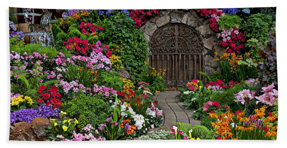 Flowers Beach Towel featuring the photograph Wine Celler Gates by Garry Gay
