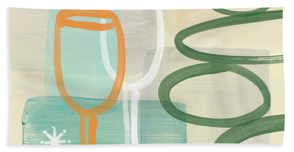 Wine Beach Towel featuring the painting Wine For Two by Linda Woods