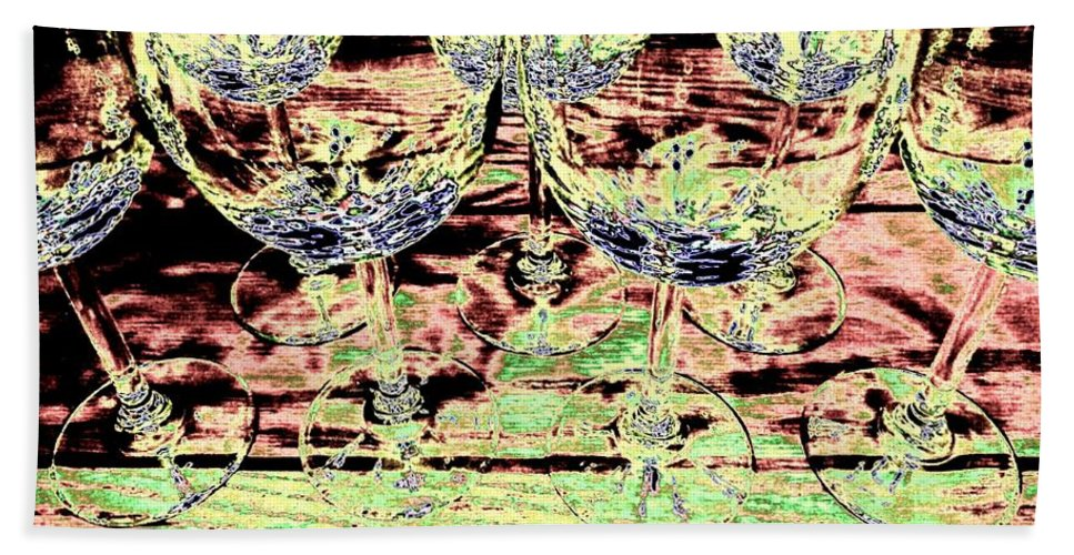 Wine Glasses Beach Towel featuring the digital art Wine Glasses by Will Borden