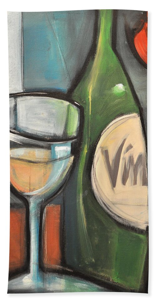 Wine Beach Towel featuring the painting Wine Is Bottled Poetry by Tim Nyberg