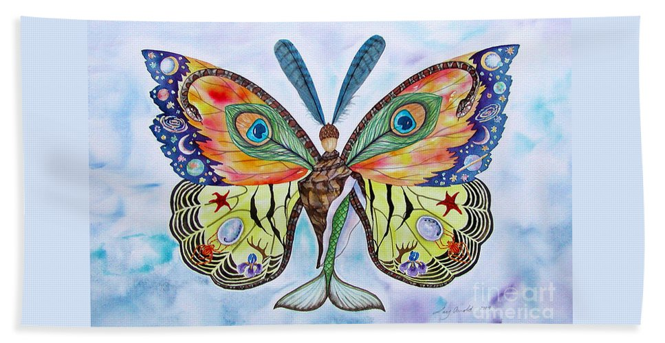 Butterfly Beach Towel featuring the painting Winged Metamorphosis by Lucy Arnold