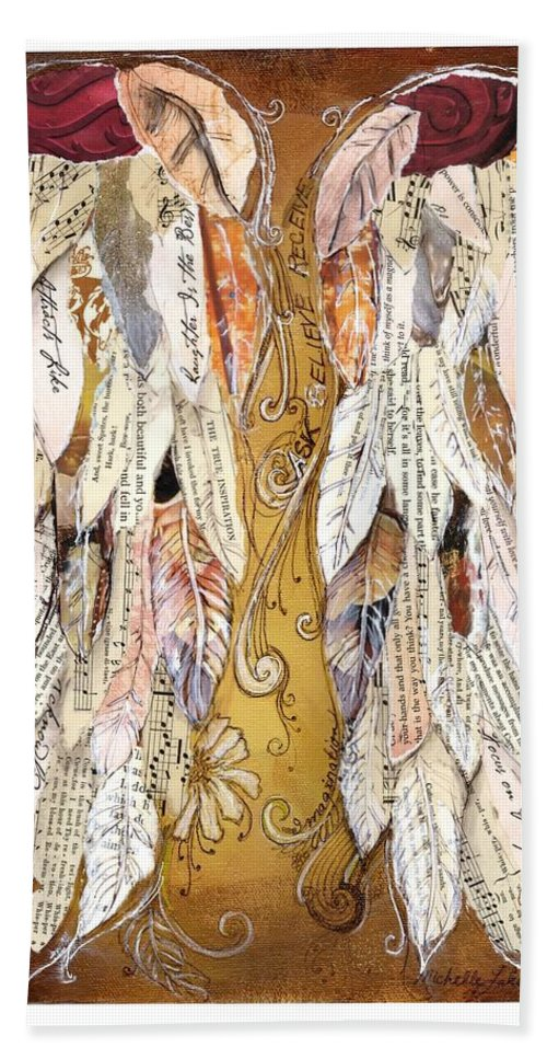Wings Of Love Beach Sheet featuring the painting Wings Of Love Sienna by Michelle Lake