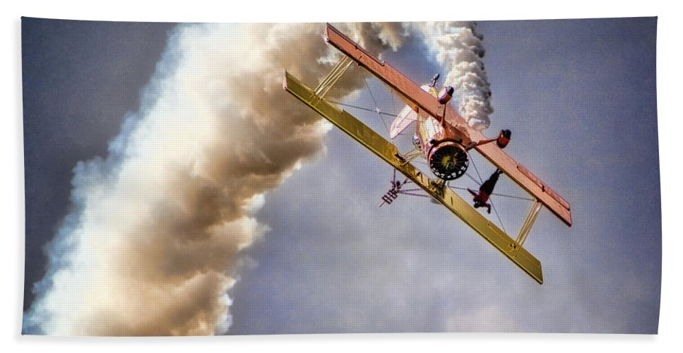 Aircraft Beach Towel featuring the photograph Wingwalker by Diana Powell