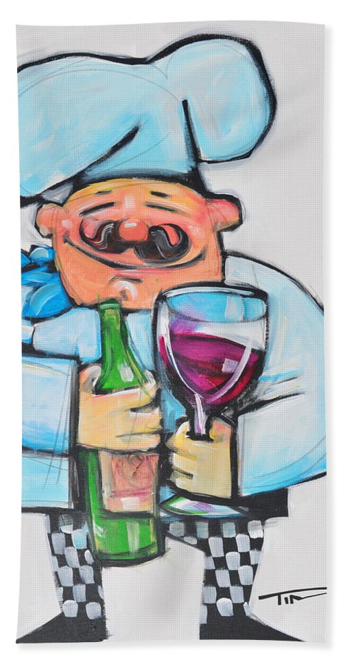 Chef Beach Towel featuring the painting Wining Chef by Tim Nyberg