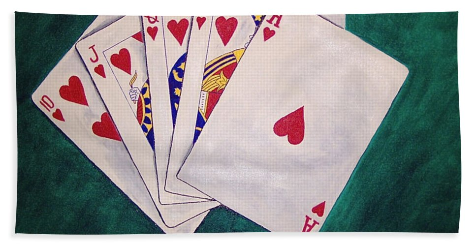 Playing Cards Wining Hand Role Flush Beach Towel featuring the painting Wining Hand 2 by Herschel Fall