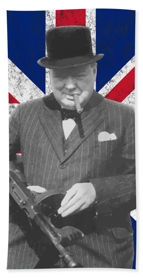 Winston Churchill Beach Towel featuring the painting Winston Churchill And His Flag by War Is Hell Store