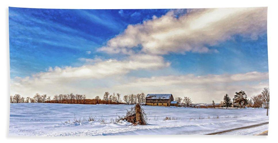 Barn Beach Towel featuring the photograph Winter Barn 3 - Paint by Steve Harrington