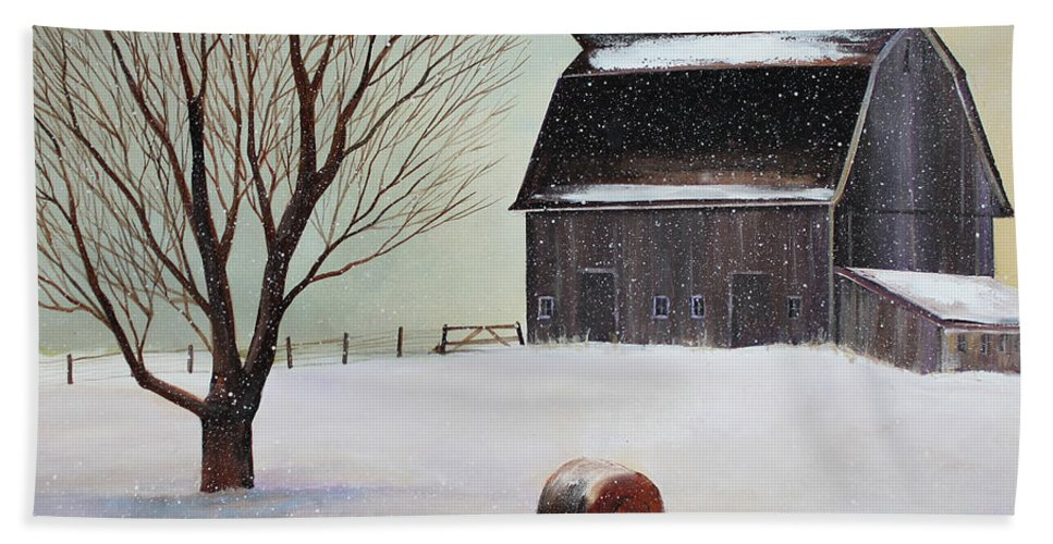 Barn Beach Towel featuring the painting Winter Barn II by Toni Grote