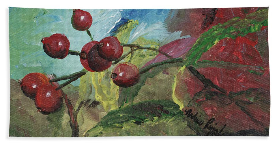 Berries Beach Sheet featuring the painting Winter Berries by Nadine Rippelmeyer
