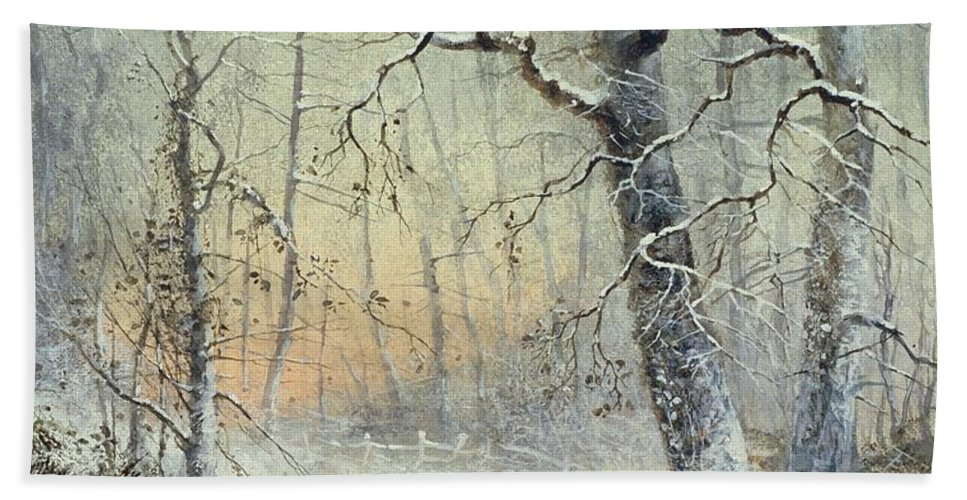 Winter Beach Towel featuring the painting Winter Breakfast by Joseph Farquharson