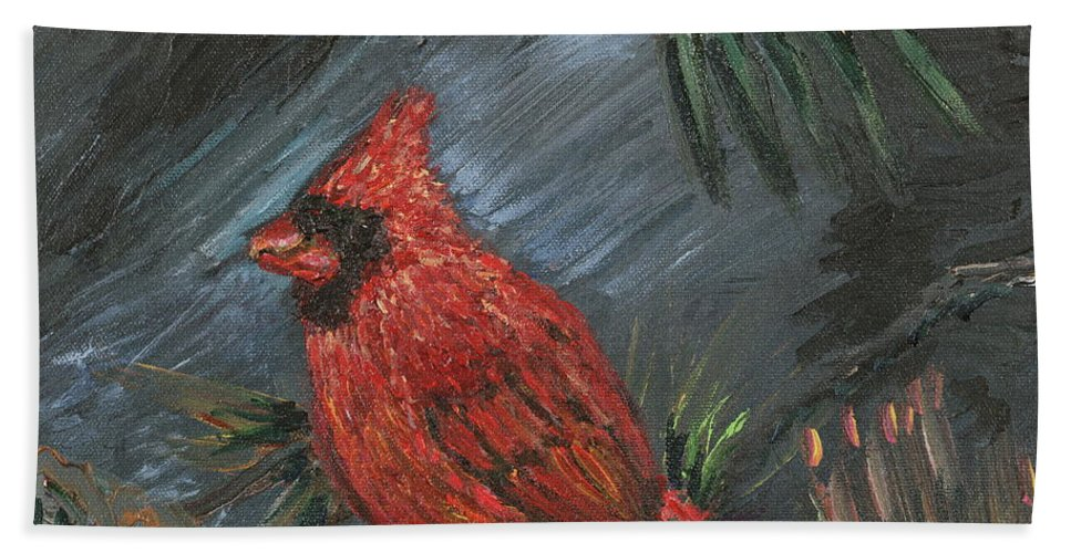 Bird Beach Sheet featuring the painting Winter Cardinal by Nadine Rippelmeyer