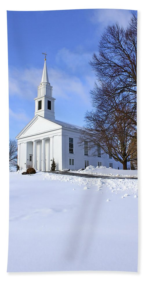 Beautiful Beach Towel featuring the photograph Winter Church by Evelina Kremsdorf