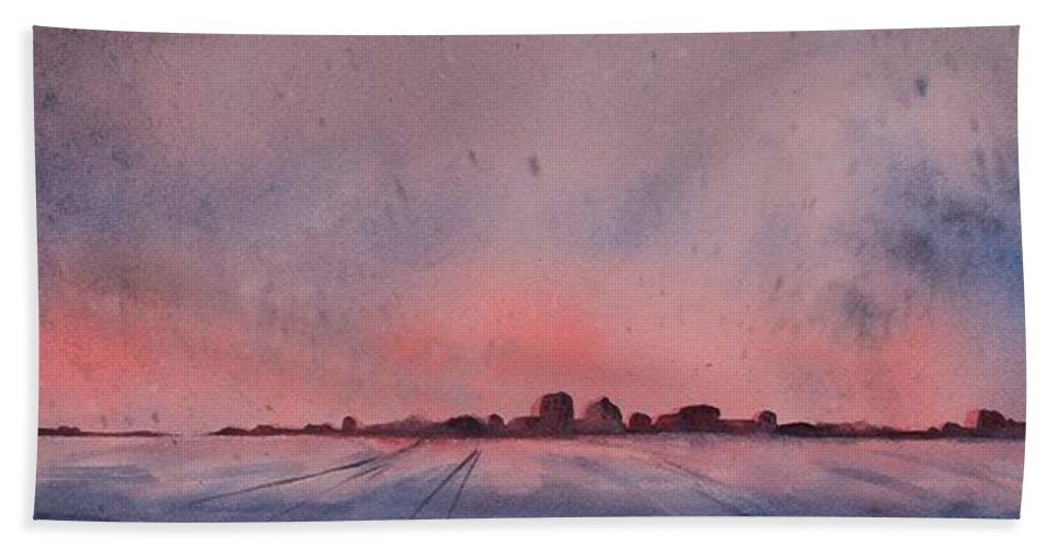 Winter Beach Towel featuring the painting Winter City by Ruth Kamenev