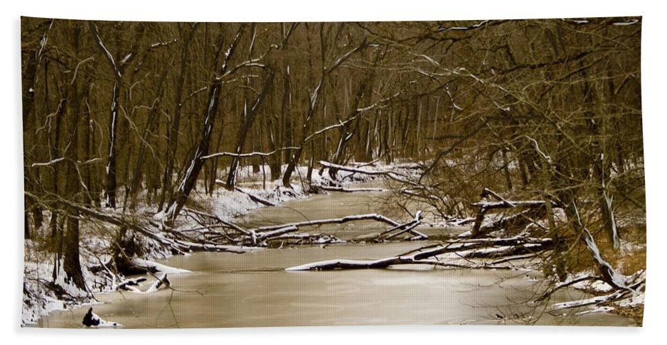 Creek Beach Towel featuring the photograph Winter Creek by Bonnie Willis