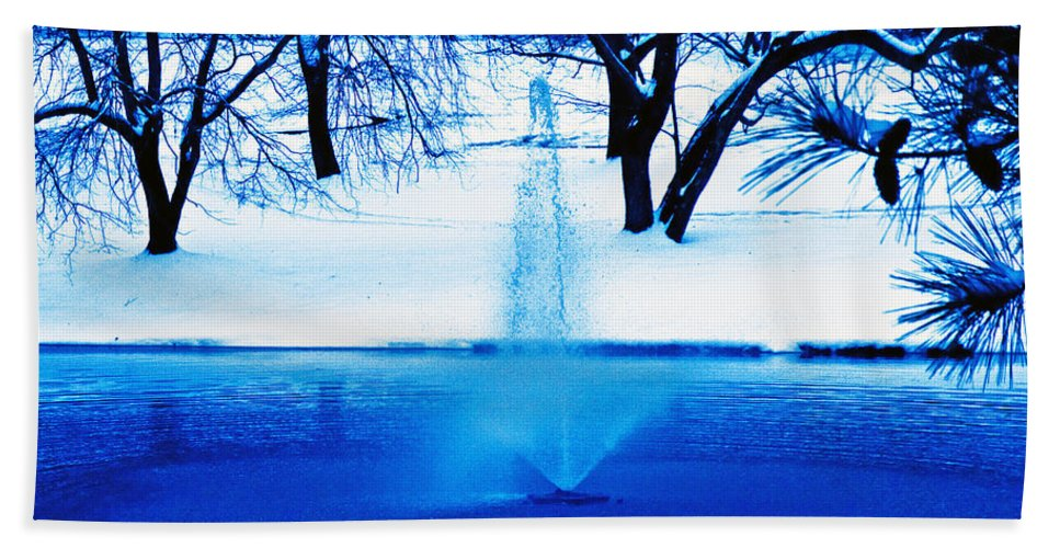 Winter Beach Towel featuring the photograph Winter Fountain 2 by David Campbell