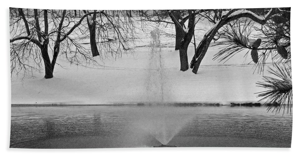 Landscape Beach Towel featuring the photograph Winter Fountain by David Campbell