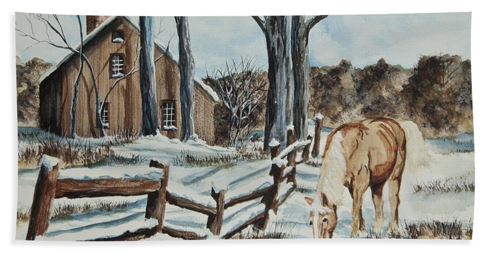 Horse Beach Towel featuring the painting Winter Grazing by Charlotte Blanchard