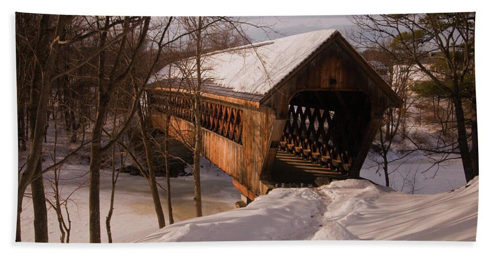 new England Covered Bridges Beach Towel featuring the photograph Winter Henniker by Paul Mangold