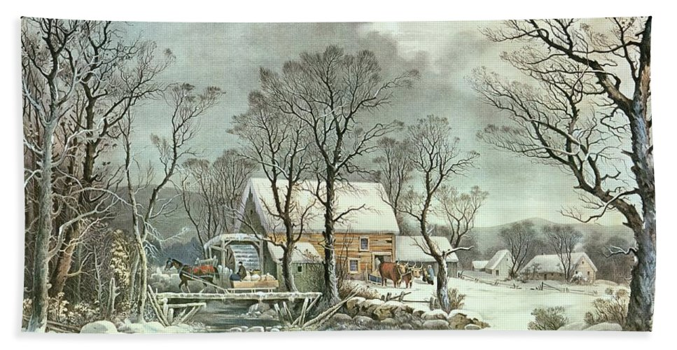 Winter In The Country - The Old Grist Mill Beach Towel featuring the painting Winter In The Country - The Old Grist Mill by Currier and Ives