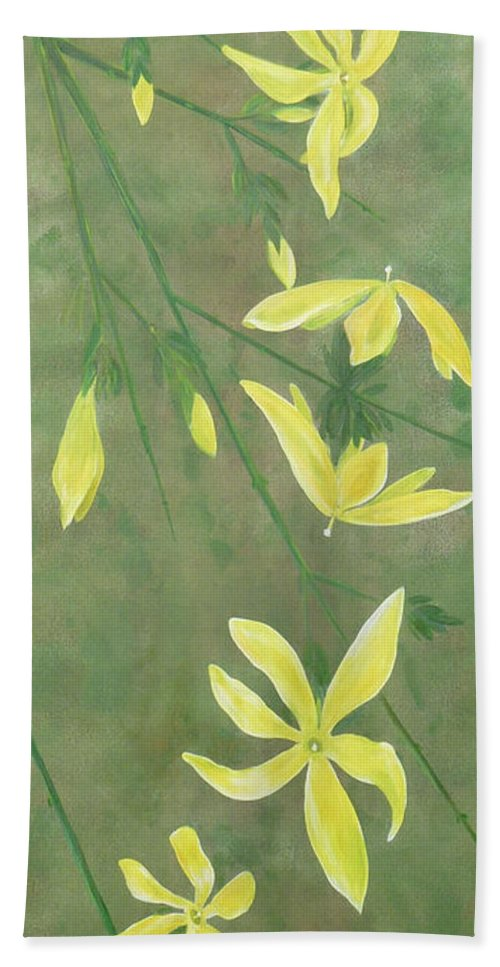 Jasmine Beach Towel featuring the painting Winter Jasmine by Barbara Moignard