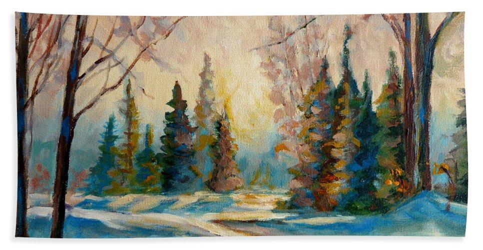 Winter Landscape Knowlton Quebec Beach Towel featuring the painting Winter Landscape Knowlton Quebec by Carole Spandau