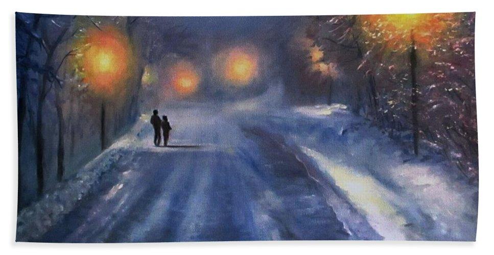 Winter Night Beach Towel featuring the painting Winter lights by Natalja Picugina