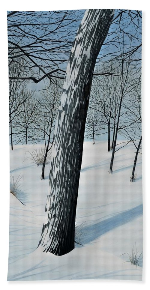 Landscape Beach Towel featuring the painting Winter Maple by Kenneth M Kirsch
