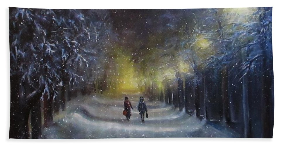 Night Lights Beach Towel featuring the painting Winter night walk by Natalja Picugina
