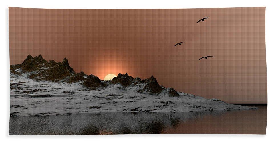 Landscape Beach Towel featuring the digital art winter Ocean Scene by John Junek