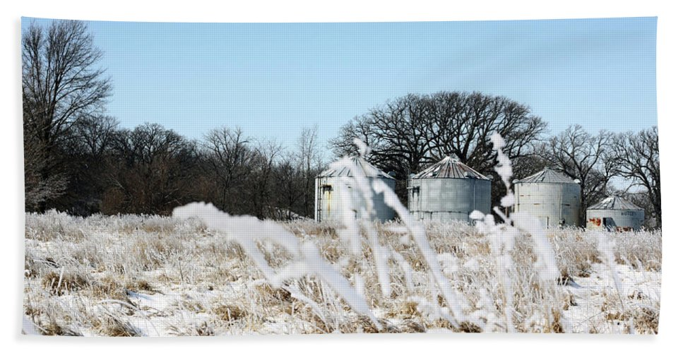 Agriculture Beach Towel featuring the photograph Winter On The Prairie Number 2 by Alan Look