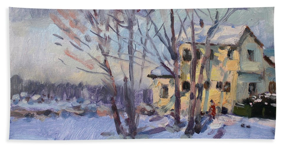 Winter Scene Beach Towel featuring the painting Winter Scene In Tonawanda by Ylli Haruni
