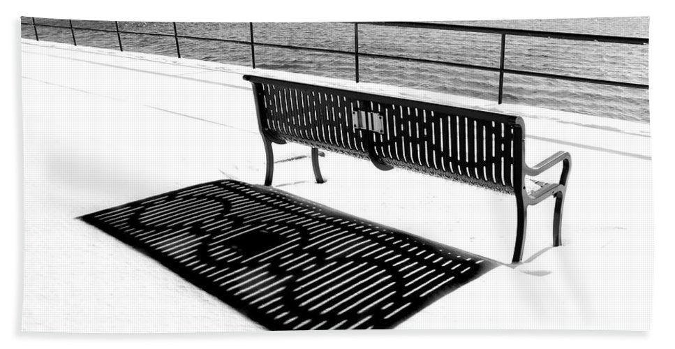 Gloucester Beach Towel featuring the photograph Winter Shadows by Greg Fortier